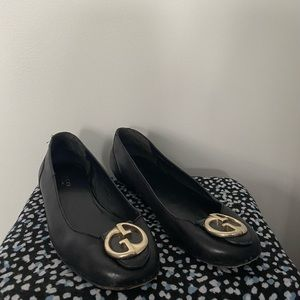 Vintage Gucci Black Leather Ballet Flats